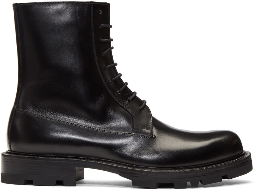 Image of Jil Sander Black Lace-up Boots