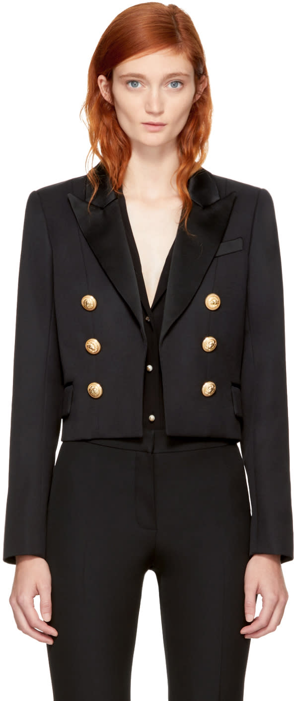 Image of Balmain Black Cropped Double-breasted Blazer