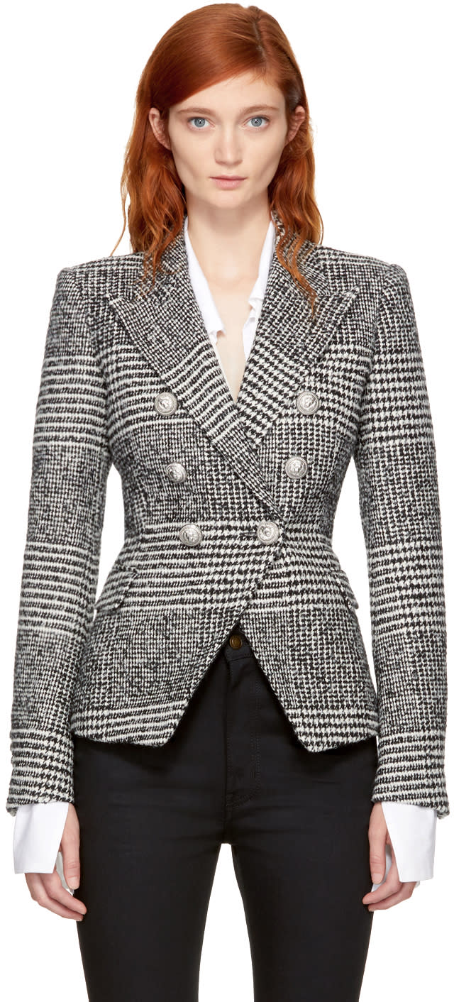 Image of Balmain Black and White Houndstooth Six-button Blazer