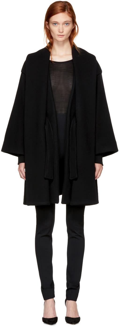 Image of Balmain Black Wool Belted Coat