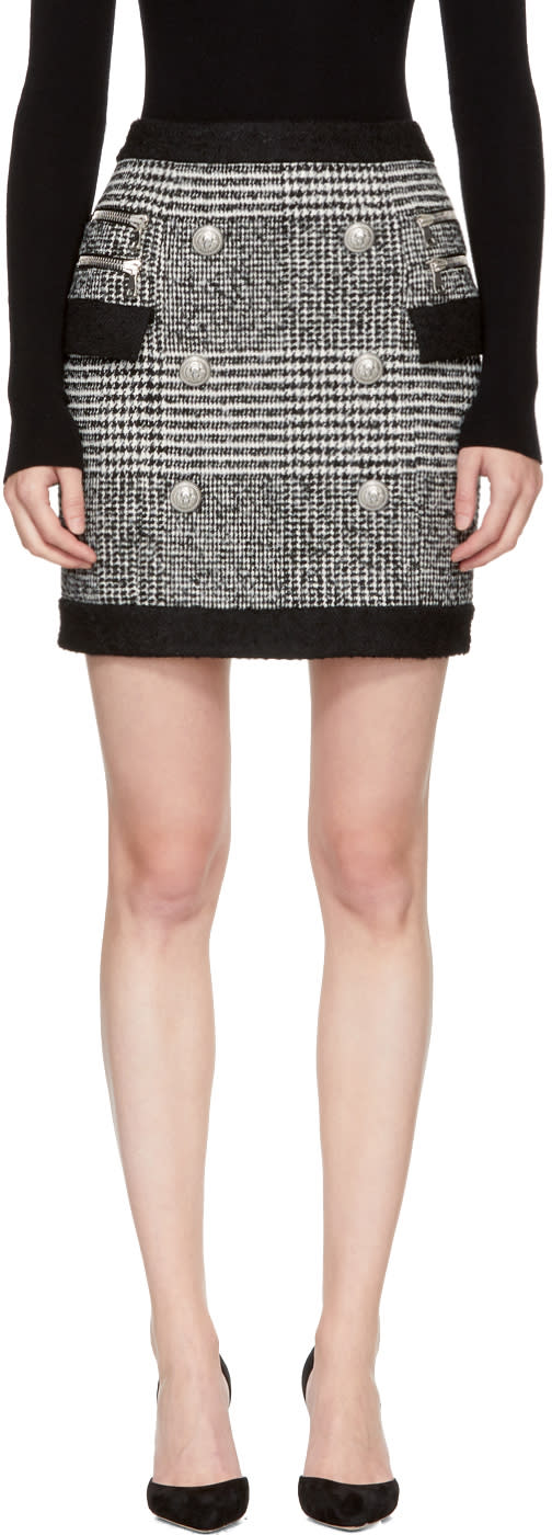 Balmain Black and White Houndstooth Six-button Miniskirt