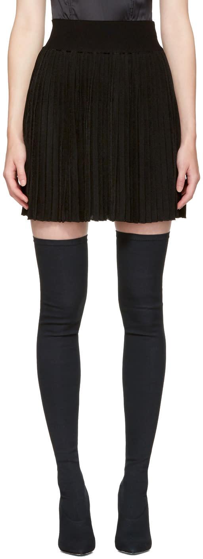 Balmain Black Pleated Miniskirt
