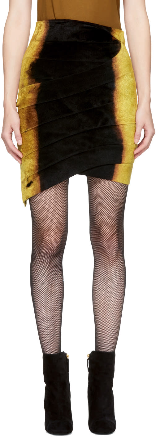 Balmain Black and Gold Velvet Miniskirt
