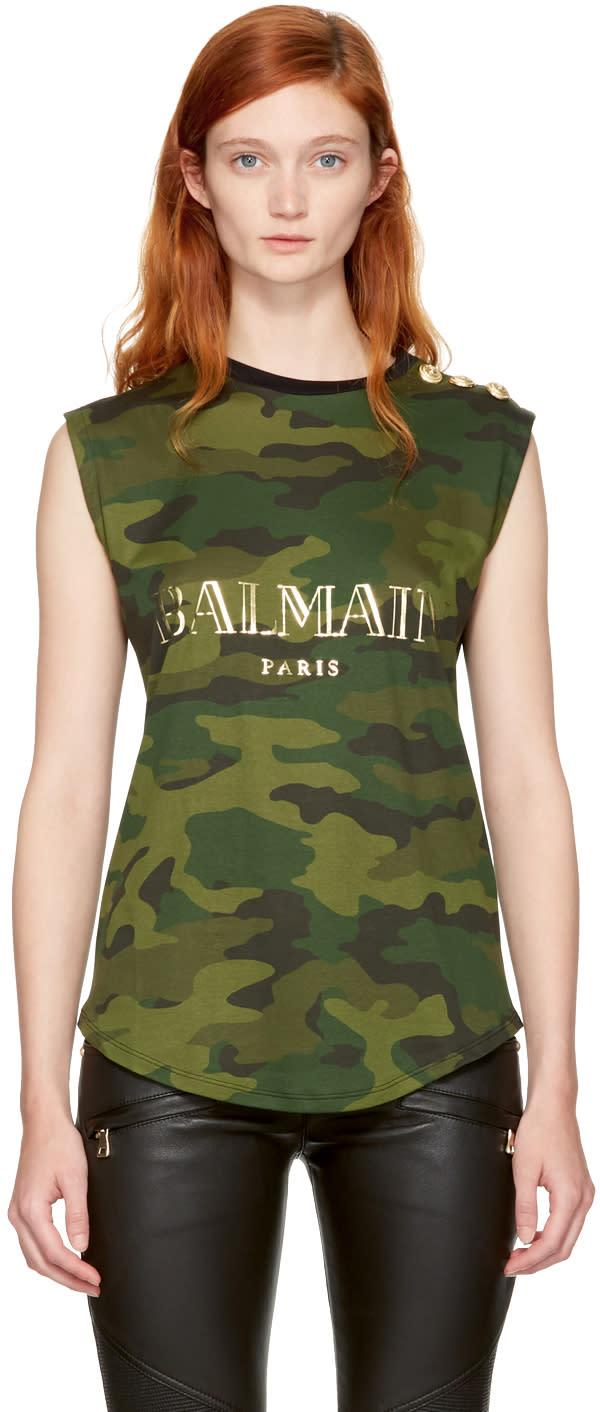 Image of Balmain Black and Khaki Sleeveless Camo Logo T-shirt