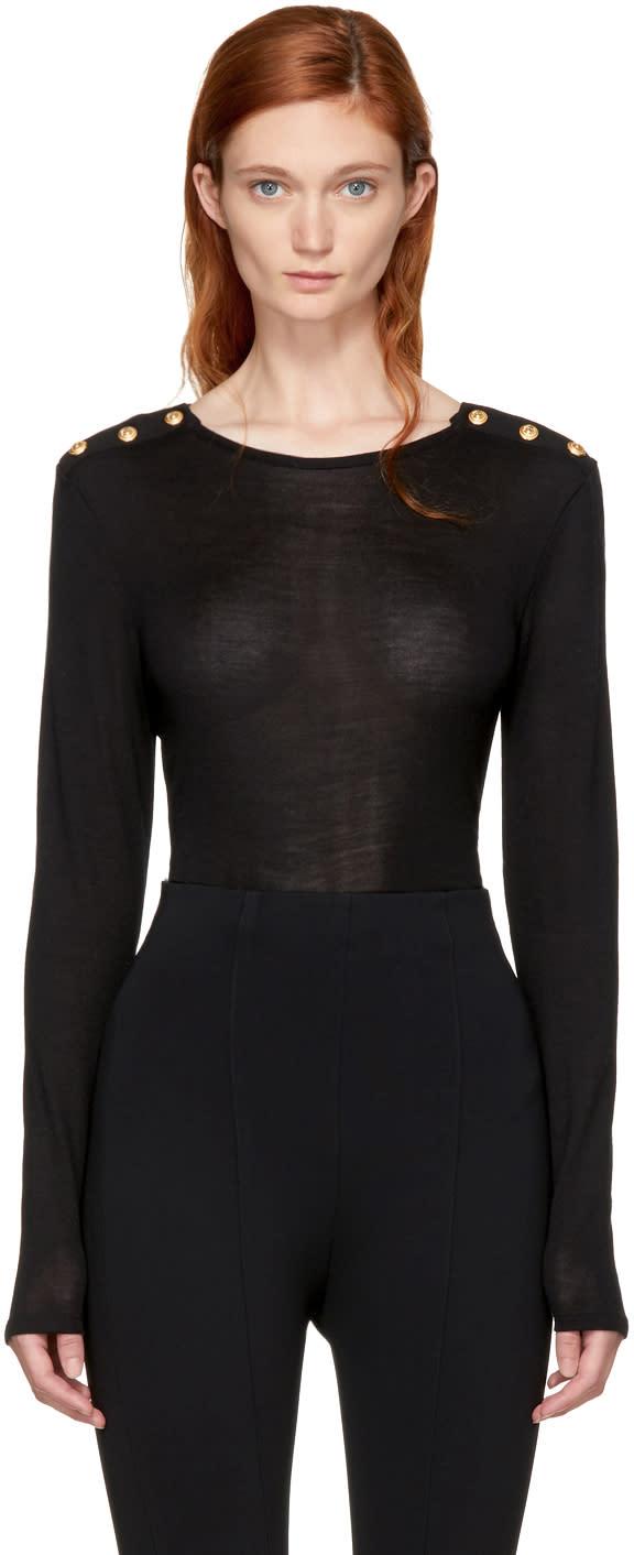 Balmain T-shirt à Manches Longues Boutonné Noir
