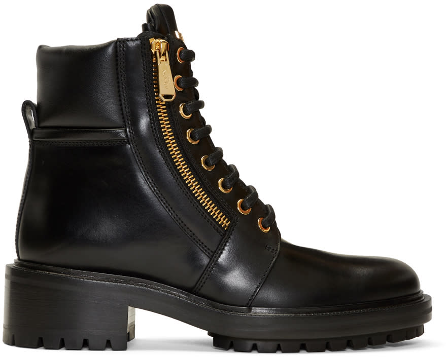 Image of Balmain Black Army Ranger Zip Boots