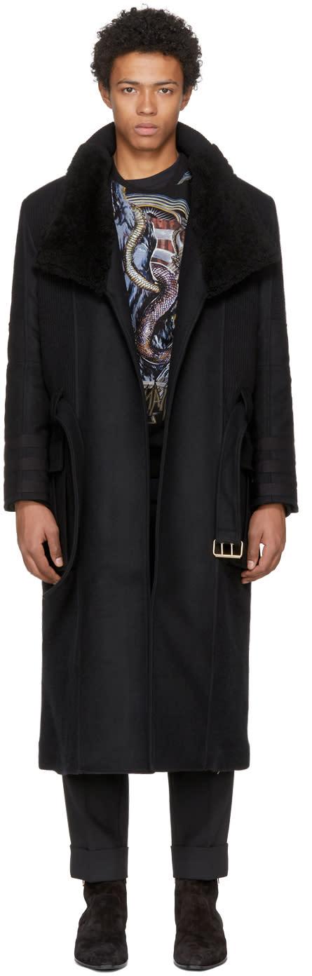 Balmain ブラック ベルト コート