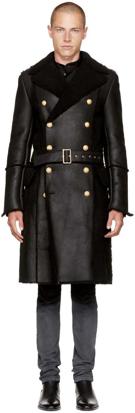 Image of Balmain Black Shearling Double-breasted Coat