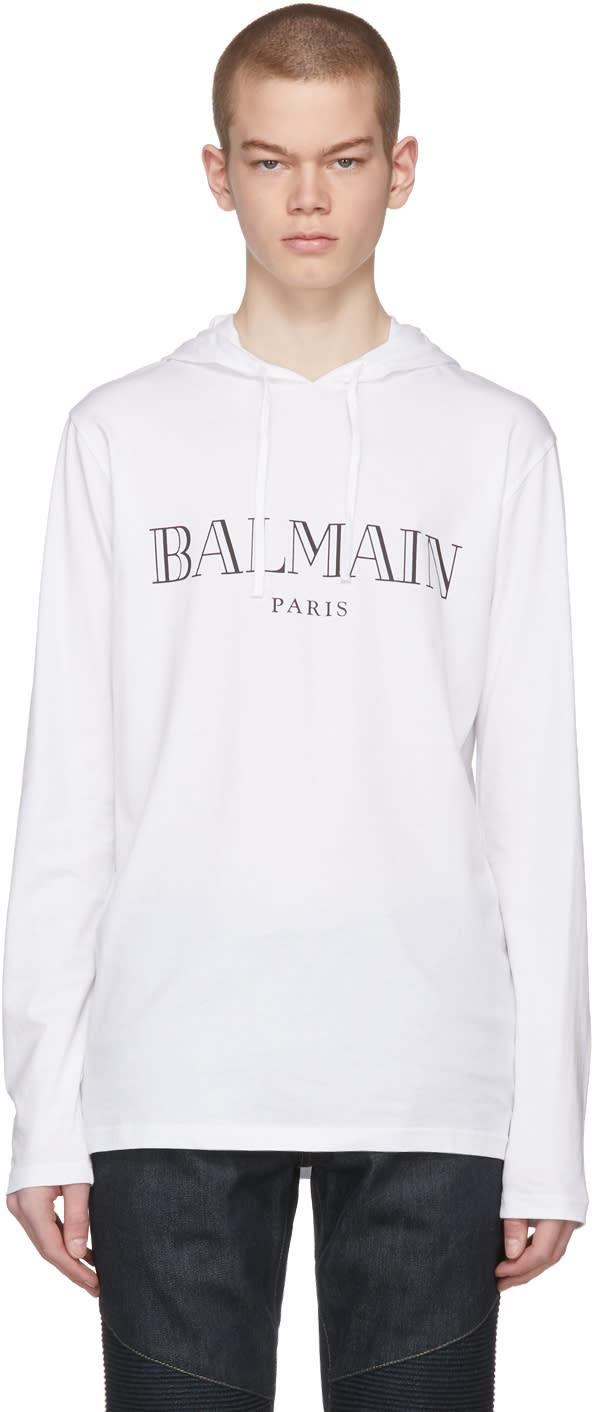 Balmain Pull à Capuche Et Logo Blanc