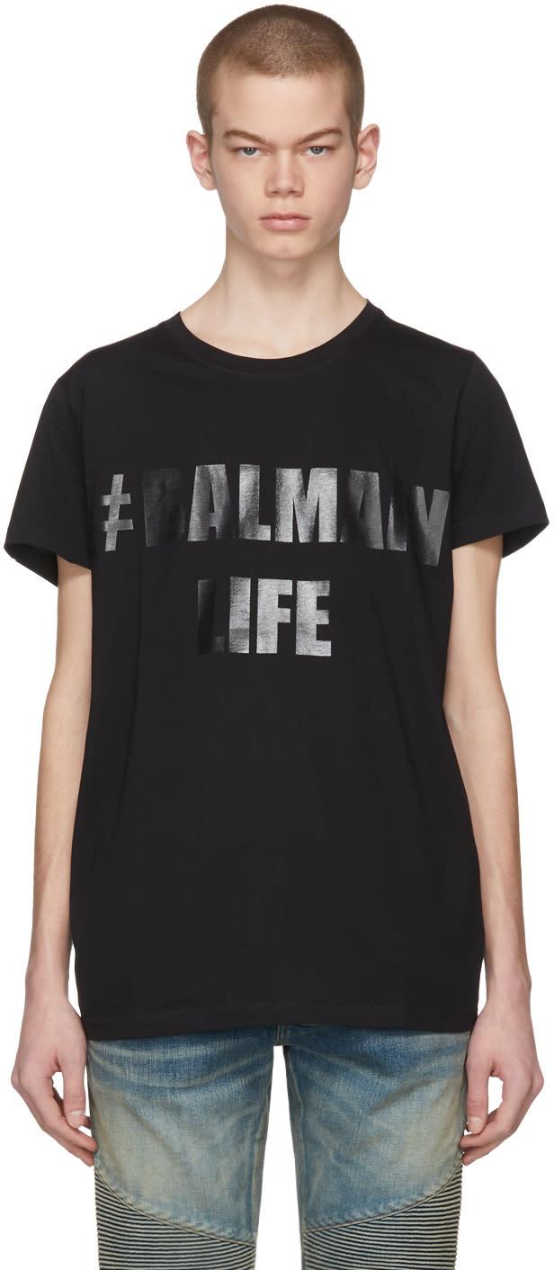 Image of Balmain Black balmain Life T-shirt