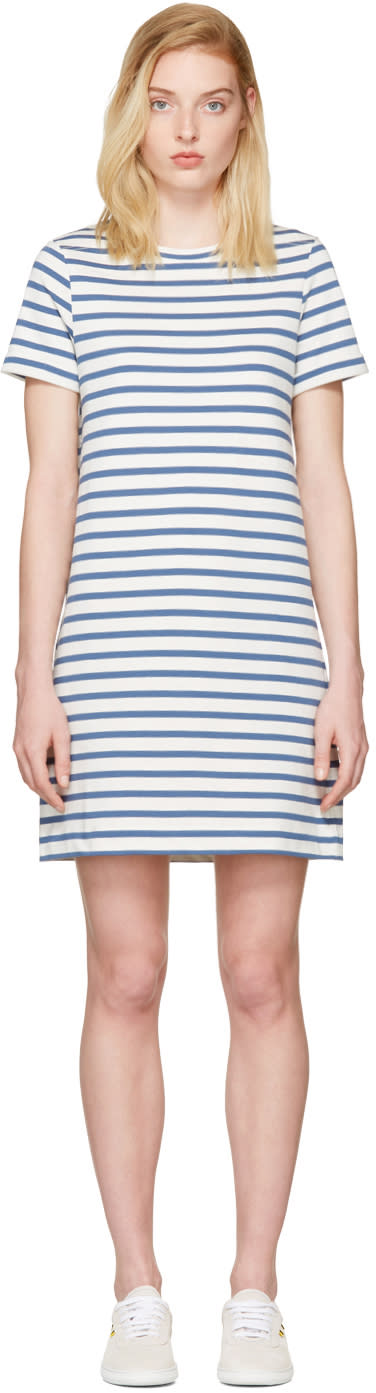 A.p.c. Blue Striped Becky Dress