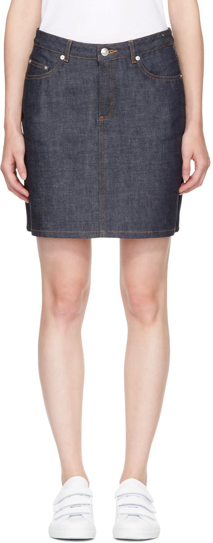 A.p.c. Mini-jupe En Denim Bleu Marine Standard