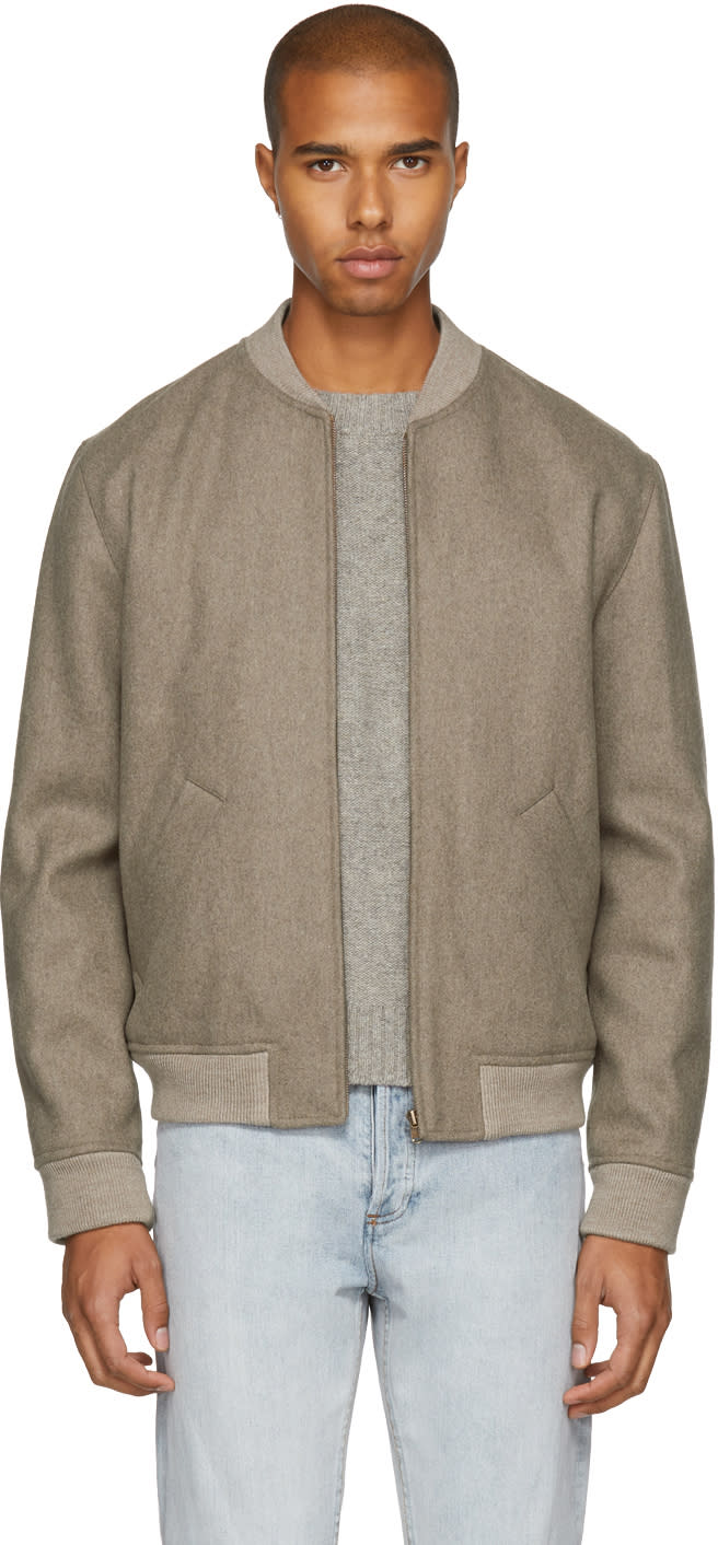 Image of A.p.c. Beige Gaston Bomber Jacket