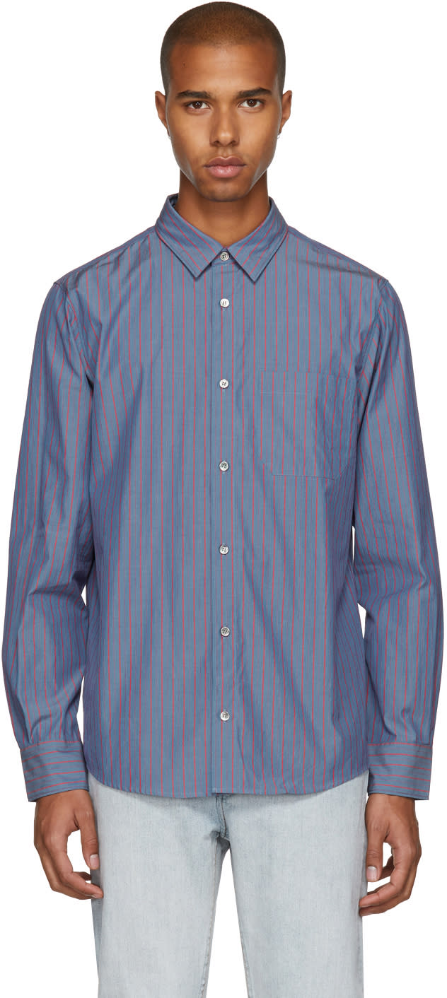 A.p.c. Chemise à Rayures Fines Bleue Will