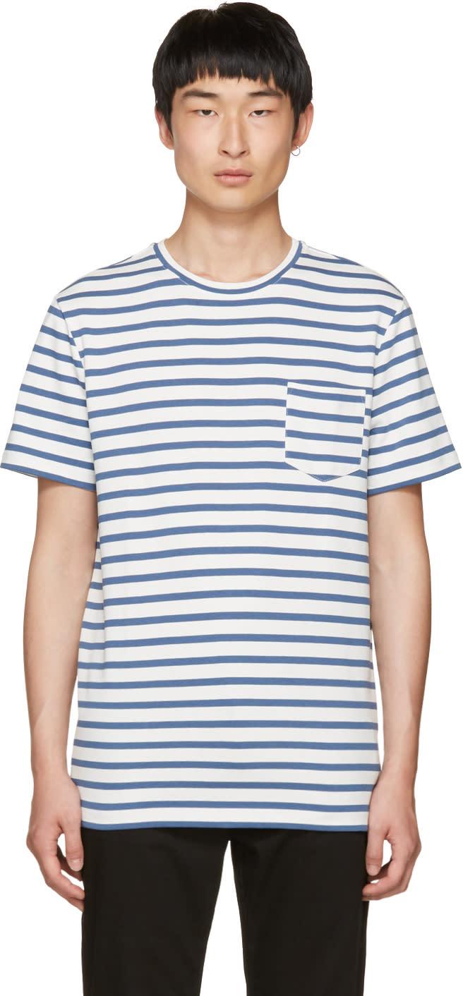 A.p.c. Blue Striped Michael T-shirt