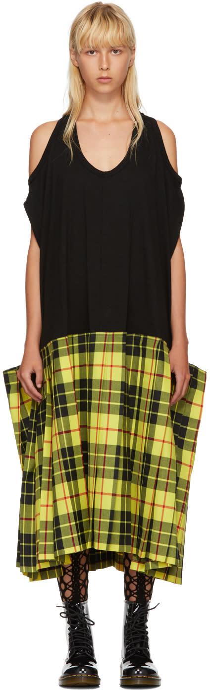 Image of Junya Watanabe Black and Yellow Tartan Tank Dress