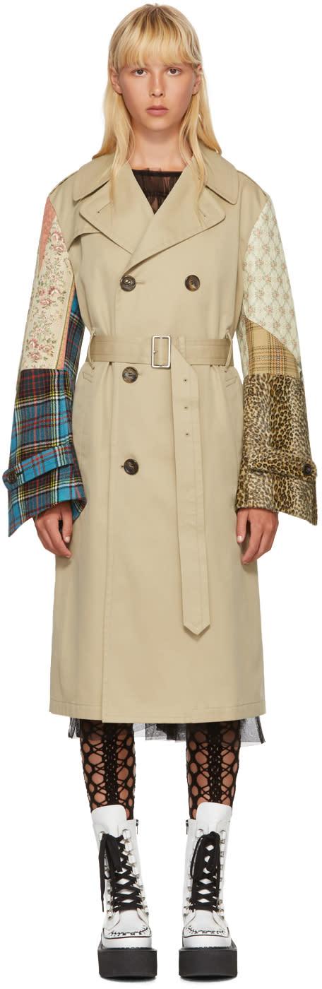 Image of Junya Watanabe Beige Patchwork Sleeve Trench Coat