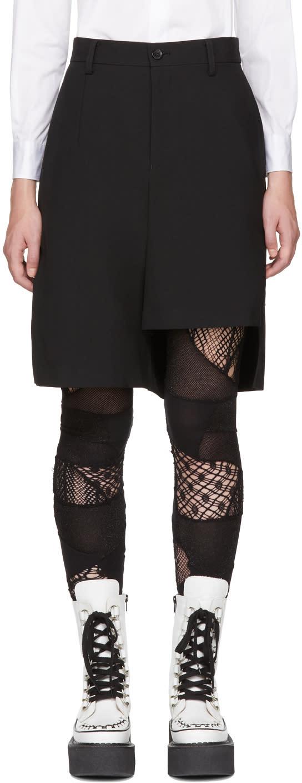 Image of Junya Watanabe Black Asymmetric Wool Shorts