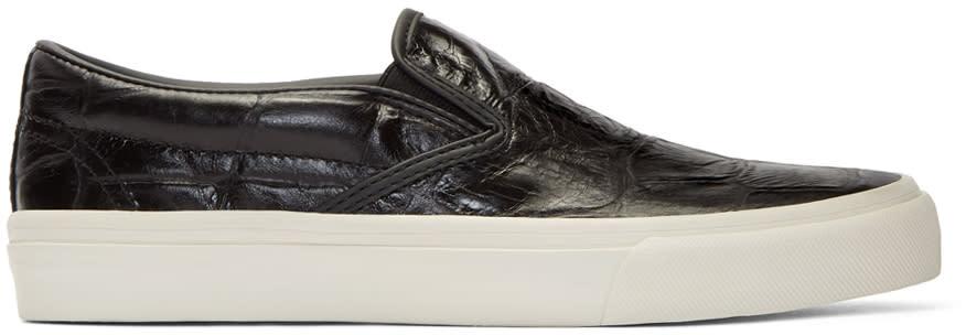 Junya Watanabe Black Croc Slip-on Sneakers