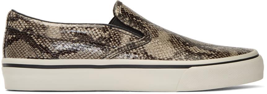 Image of Junya Watanabe Beige Faux-python Slip-on Sneakers