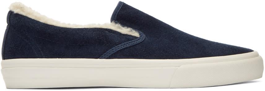 Junya Watanabe Navy Suede Slip-on Sneakers