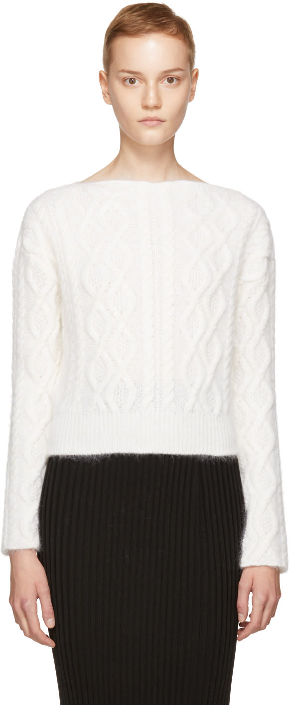 Lanvin Ivory Angora Cropped Pullover