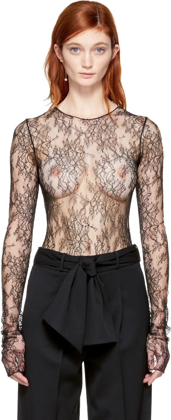 Lanvin Black Lace Bodysuit
