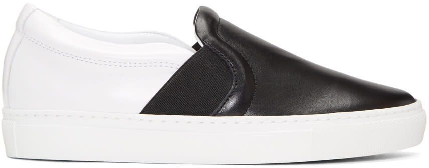 Image of Lanvin Black and White Leather Slip-on Sneakers