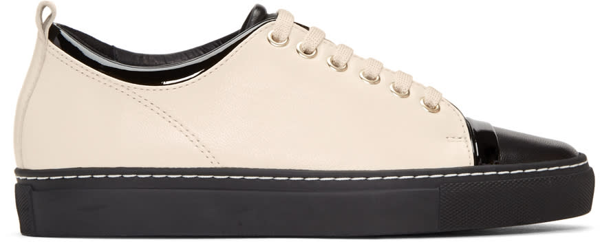 Image of Lanvin Black and Ivory Leather Sneakers