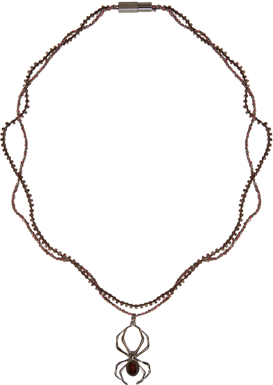 Lanvin Gunmetal Spider Necklace