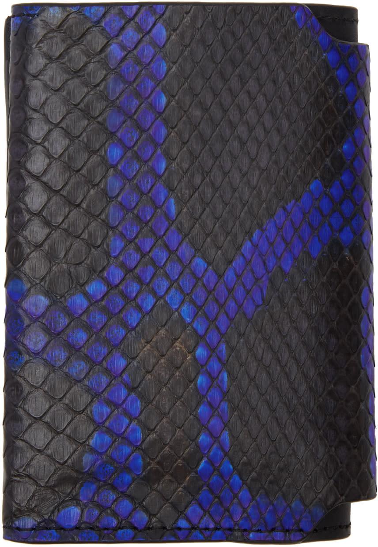 Image of Lanvin Black and Blue Python Card Holder