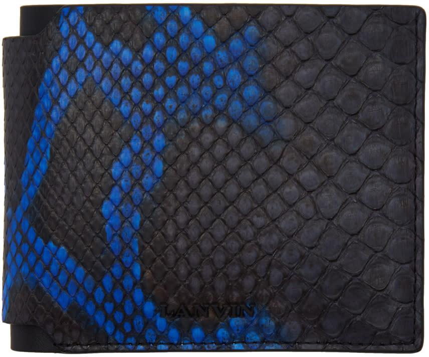 Image of Lanvin Black and Blue Python Wallet