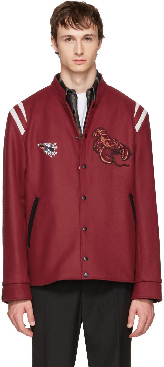 Lanvin Red Wool Lobster Bomber Jacket