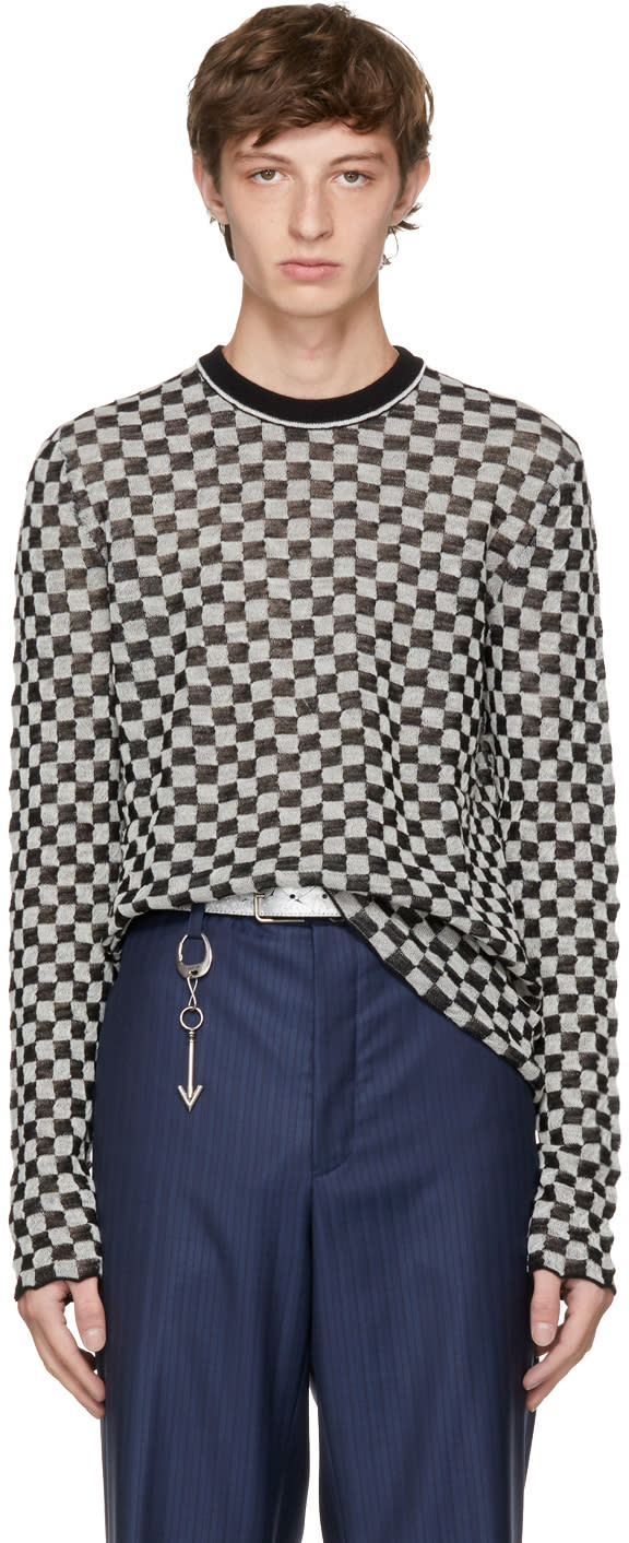 Image of Lanvin Black and White Check Pullover