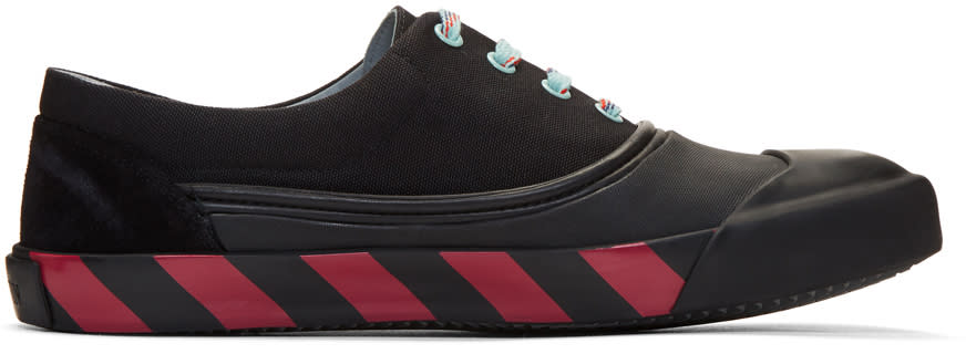 Image of Lanvin Black Canvas Oxford Sneakers