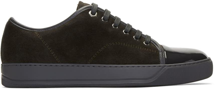 Lanvin Brown and Grey Suede Cap Toe Sneakers
