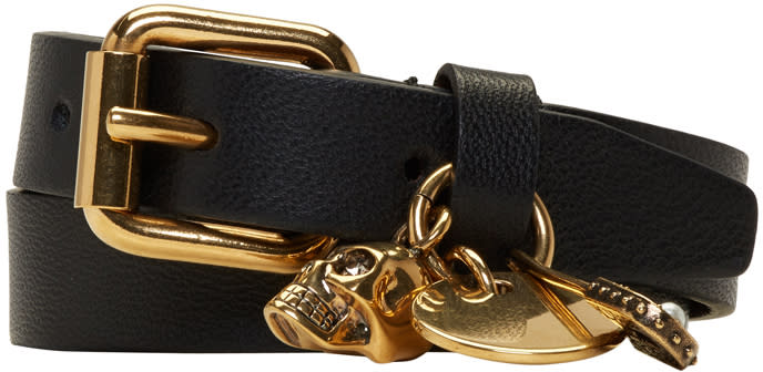 Image of Alexander Mcqueen Black and Gold Safety Pin Double Wrap Bracelet