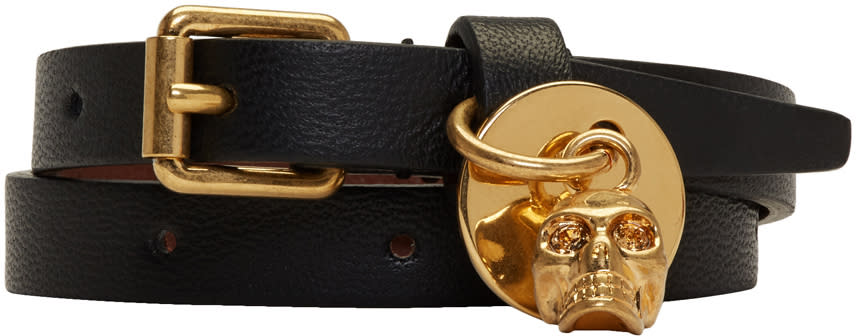 Image of Alexander Mcqueen Black and Gold Skull Double Wrap Bracelet