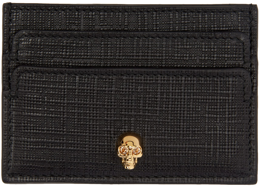 Image of Alexander Mcqueen Black and Gold Lino Skull Card Holder