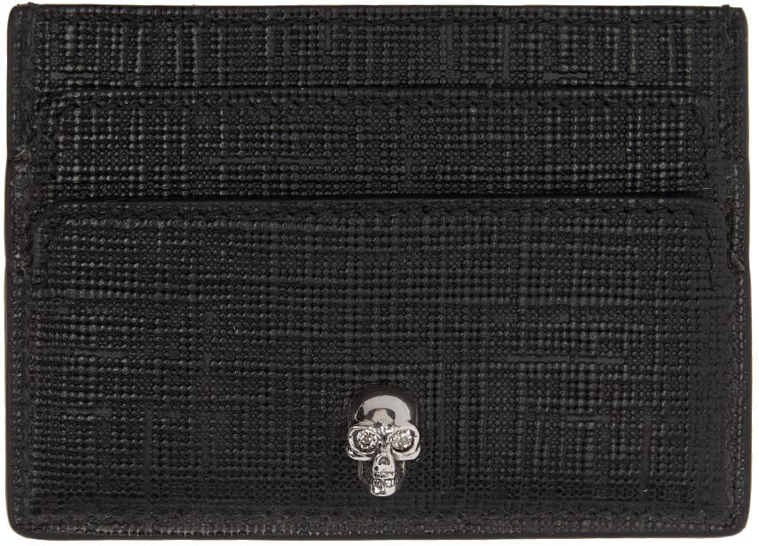 Alexander Mcqueen Black and Gunmetal Lino Skull Card Holder
