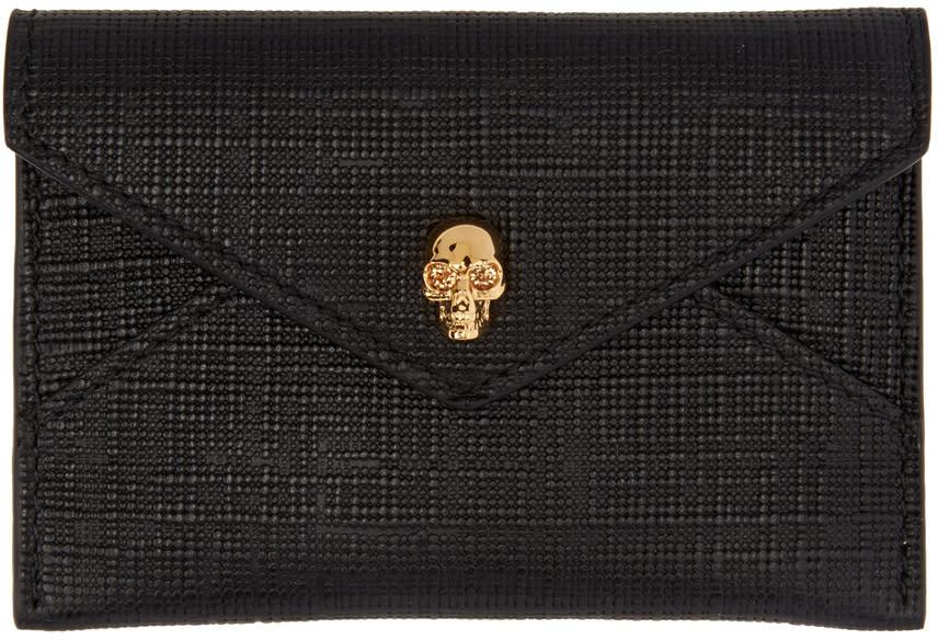 Image of Alexander Mcqueen Black and Gold Skull Envelope Card Holder