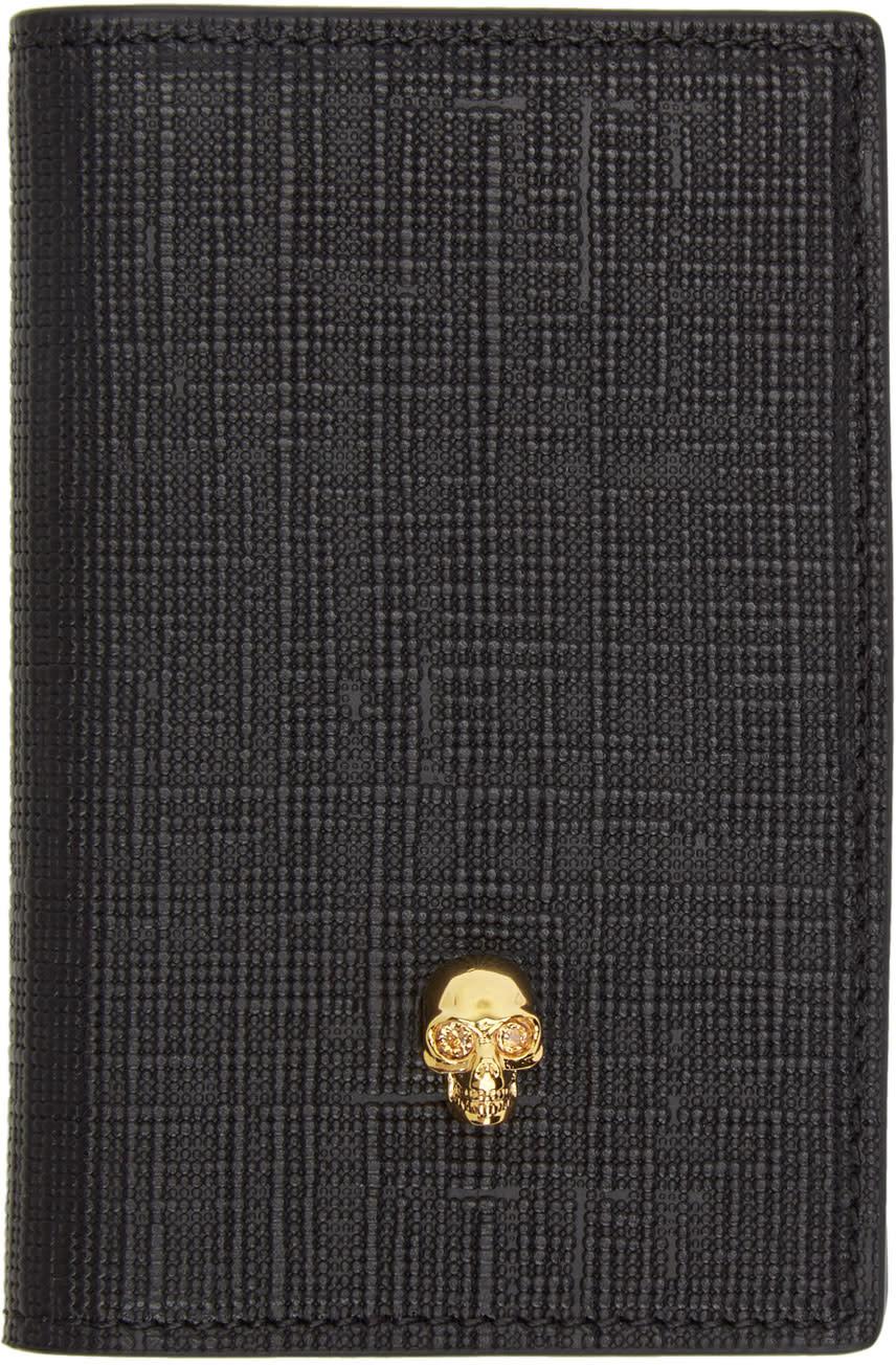 Image of Alexander Mcqueen Black and Gold Skull Pocket Organizer