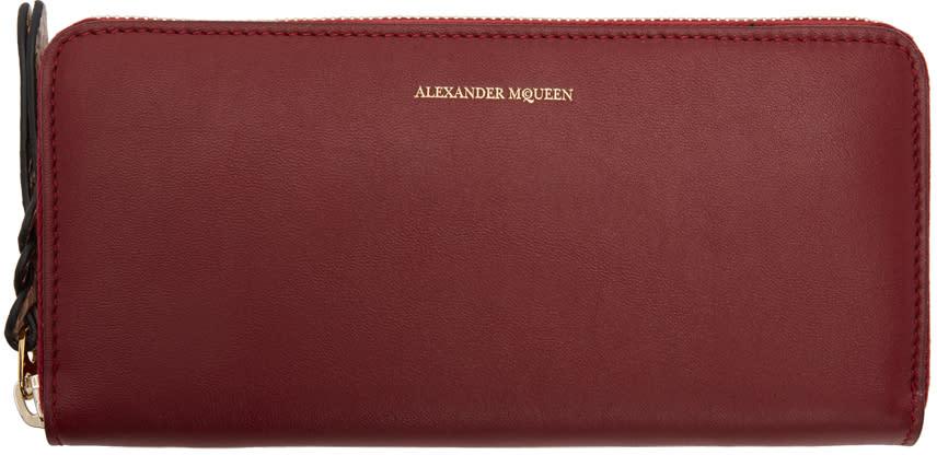 Alexander Mcqueen Red Zip Around Wallet
