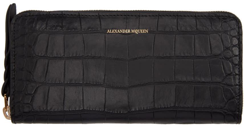 Alexander Mcqueen Black Croc-embossed Continental Zip Around Wallet