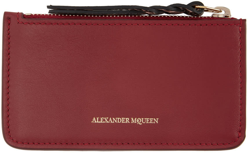 Alexander Mcqueen Red Leather Coin Pouch