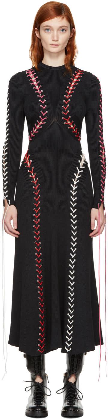 Alexander Mcqueen Black Lace-up Knit Dress