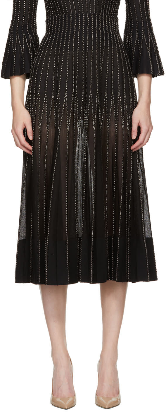 Alexander Mcqueen Black and Gold Flared Ribbed Skirt