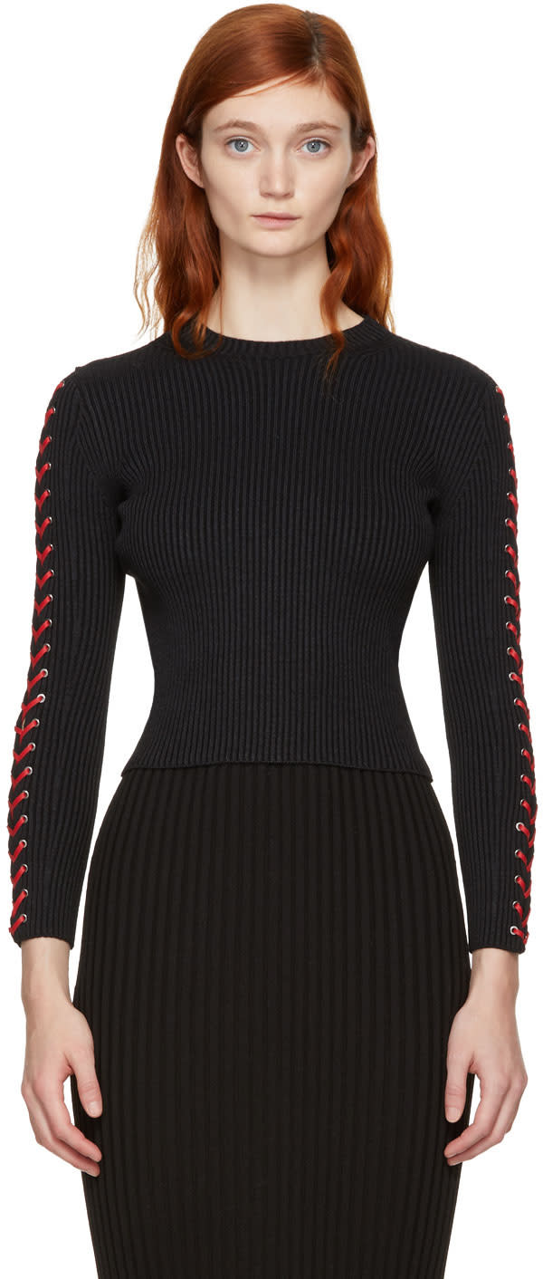 Alexander Mcqueen Black and Red Cropped Lace-up Sweater
