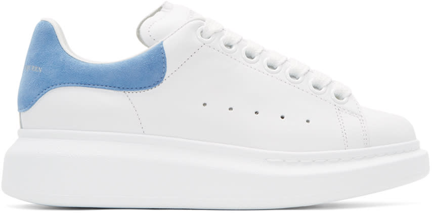 Alexander Mcqueen White and Blue Oversized Sneakers