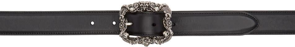 Alexander Mcqueen Black Engraved Skull Buckle Belt